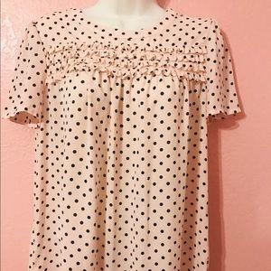 Pink short sleeve polka dot top